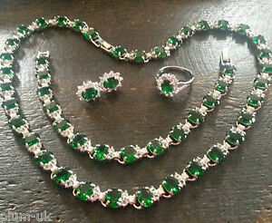 SET-Green-Emerald-WHITE-GOLD-GF-matching-earrings-necklace-bracelet-ring-PlumBOX