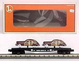 Lionel-6-17558-Route-66-Flatcar-wPackard-Station-Wagons-NIB-C-9-345