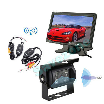 "18 IR LED Wireless Reversing Camera + 7"" LCD Monitor Car Rear View Kit Bus Truck"