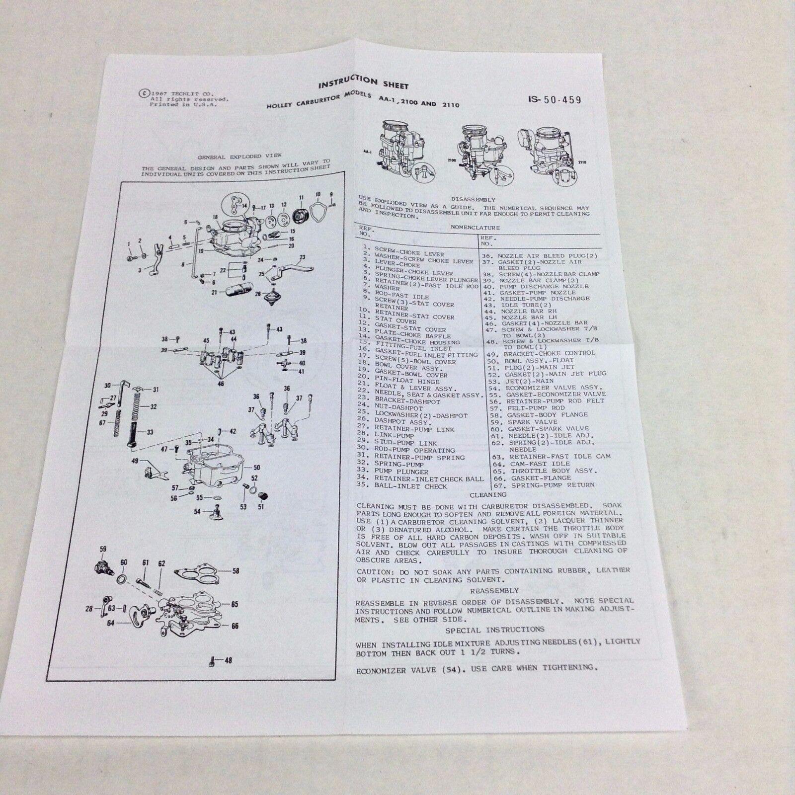 HOLLEY 2210 CARBURETOR KIT 1957-1958 INTERNATIONAL TRUCK BD-264 ENGINES