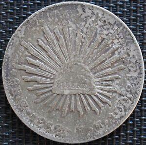 Mexico-8-Reales-1862-Go-Y-E-Guanajuato-Silver-km-3-77-8