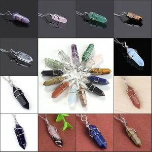 1x-Silver-Plated-Gemstone-Hexagon-Winding-Healing-Point-Chakra-Pendant-Necklace