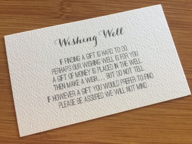 50 X Ivory Wishing Well Cards Printed And Cut Wedding Invitations Diy