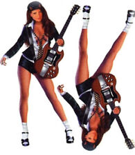 Pin Up Fille Set Autocollants E Guitare 16x8cm Rock Star Babe Autocollant