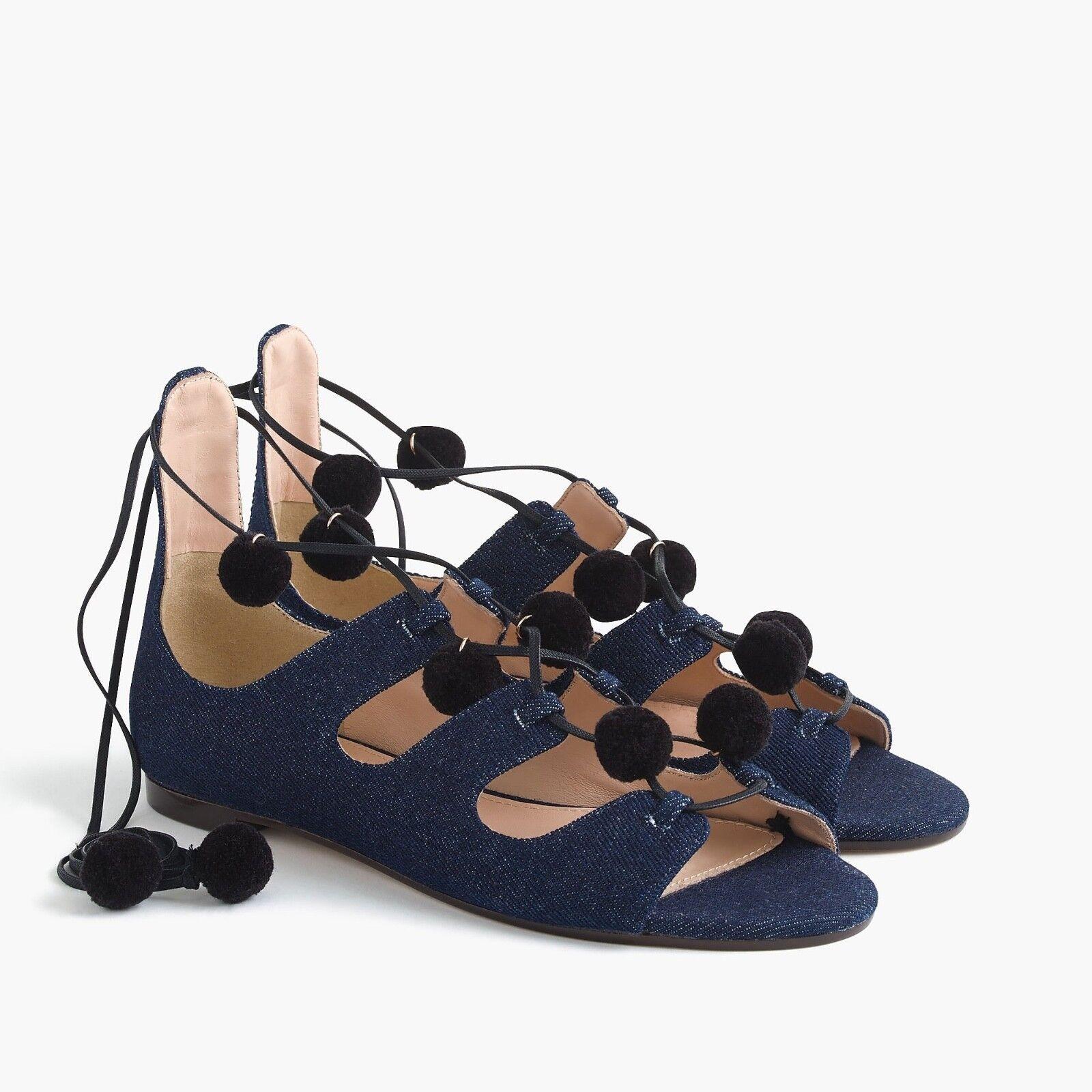 J Crew Denim Caged Gladiator Sandals with Pom-poms Size 8  198 missing 1 pom pom