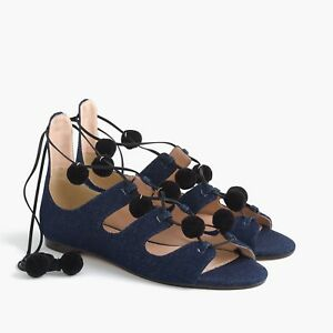 13f1d3252b J Crew Denim Caged Gladiator Sandals with Pom-poms Size 8 $198 ...