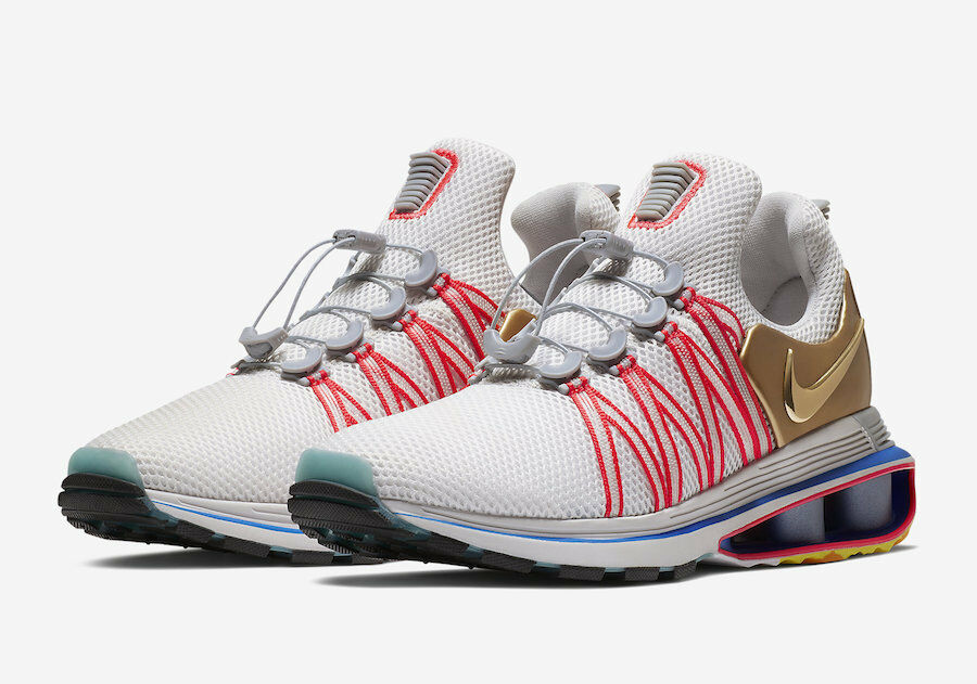 Nike Shox Gravity homme Olympic chaussures Vast Gris Metallic Gold AQ8553 009 Taille 10.5