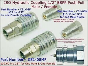 BSPP-ISO-HYDRAULIC-QUICK-CONNECT-PUSH-PULL-SLEEVE-MALE-AND-FEMALE-COUPLINGS