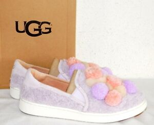 37d28345ab2 Details about NEW WOMENS 5.5 LAVENDER FOG UGG RICCI POM POM SUEDE SLIP ON  LOAFERS SNEAKER $130