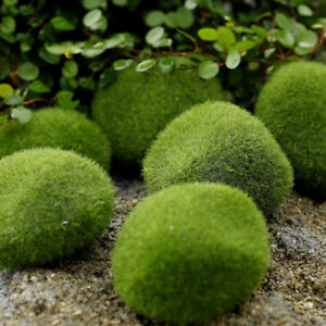 14x-Green-Artificial-Fake-Faux-Emulation-Moss-Fuzzy-Stone-Ball-Rock-Garden-Decor
