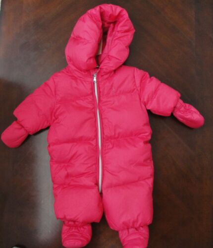 NWT Ralph Lauren Infant Girl Pink Hooded Down Snowsuit Bunting Sz 3m NEW $165