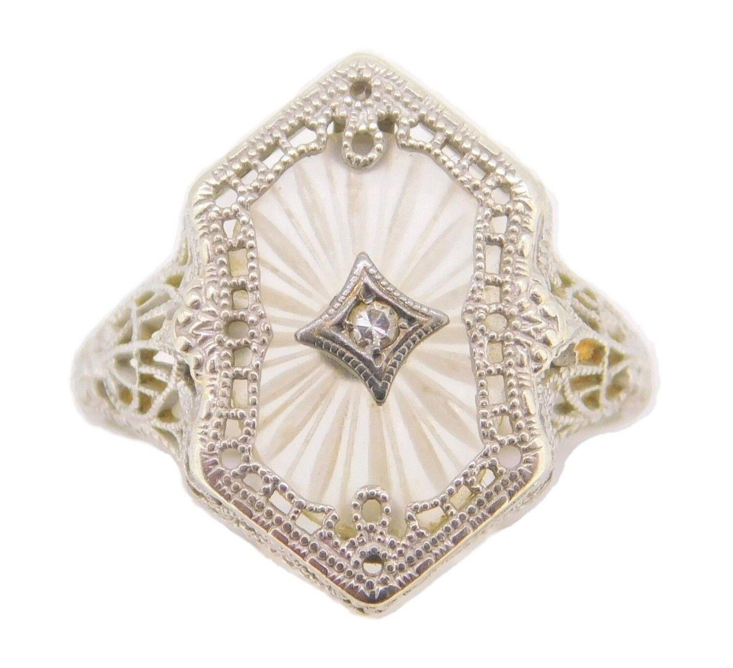 Con Diamanti E Gemme Argento Sterling 3pt Smeraldo & Marcasite Art Deco Geco Spilla