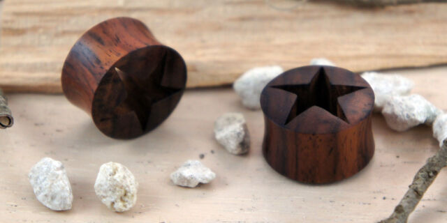 Hand Made Carved Sono Wood Cutout Star Flesh Ear Tunnel Flared Plug 0g - 7/8g