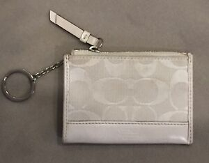 74ea6adfae Details about COACH Zip Key Chain Coin Purse Wallet Credit Card Case White  Signature