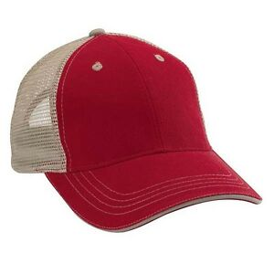 52fbc742f56 6 New Red and Khaki Trucker Hats - Twill   Mesh - UGA - Blank Hats ...