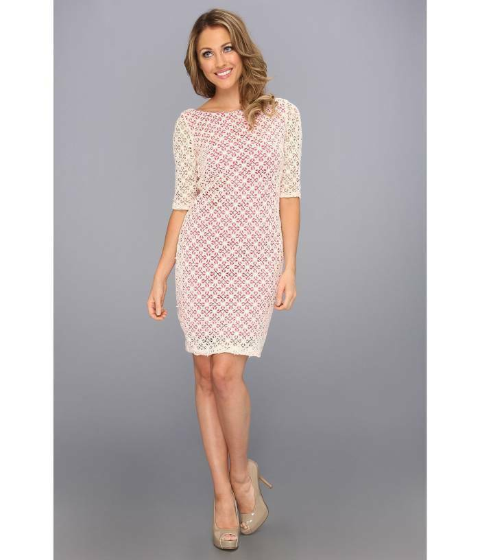 Ivy & Blau Maggy Boutique 3 4 Sleeve Crochet Lace Sheath Dress Ivory Rosa 6