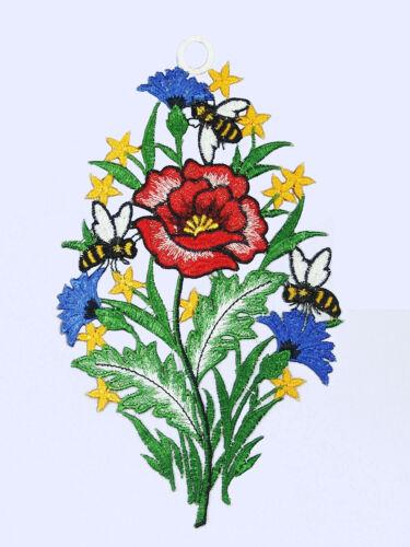 """Fensterbild /""""Biene auf Sommerblumen/"""" Plauener Spitze ® Fensterdekoration 5182200"""
