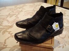 NEW BORELLI BLACK LEATHER CASUAL DRESS SHOES SIZE 42 EU FOR MEN