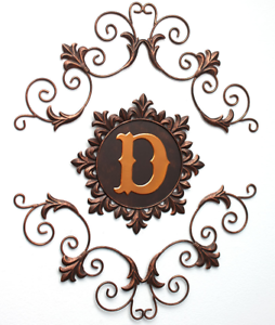 Scrolled Wall Hanging Letter D Themed Antiqued Metal Bronze Gold Finish 3 Parts