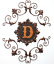 miniature 1 - Scrolled Wall Hanging Letter D Themed Antiqued Metal Bronze Gold Finish 3 Parts