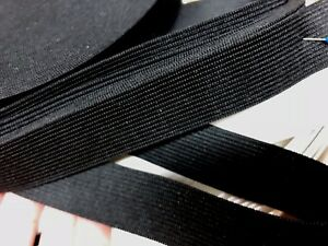 STRETCH-BLACK-1-034-ELASTIC-RIBBON-1yd-NON-SLIP-HEAVY-DUTY-WAISTBAND-BUNGEE-STRAP
