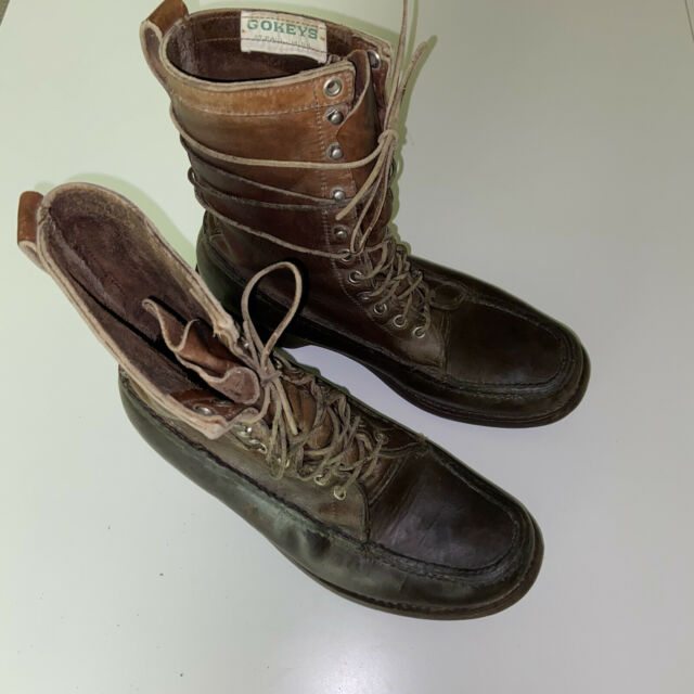 Vintage Gokey Leather Hunting Field Moc Toe Boots Gro Cord Supreme Size 9-9.5