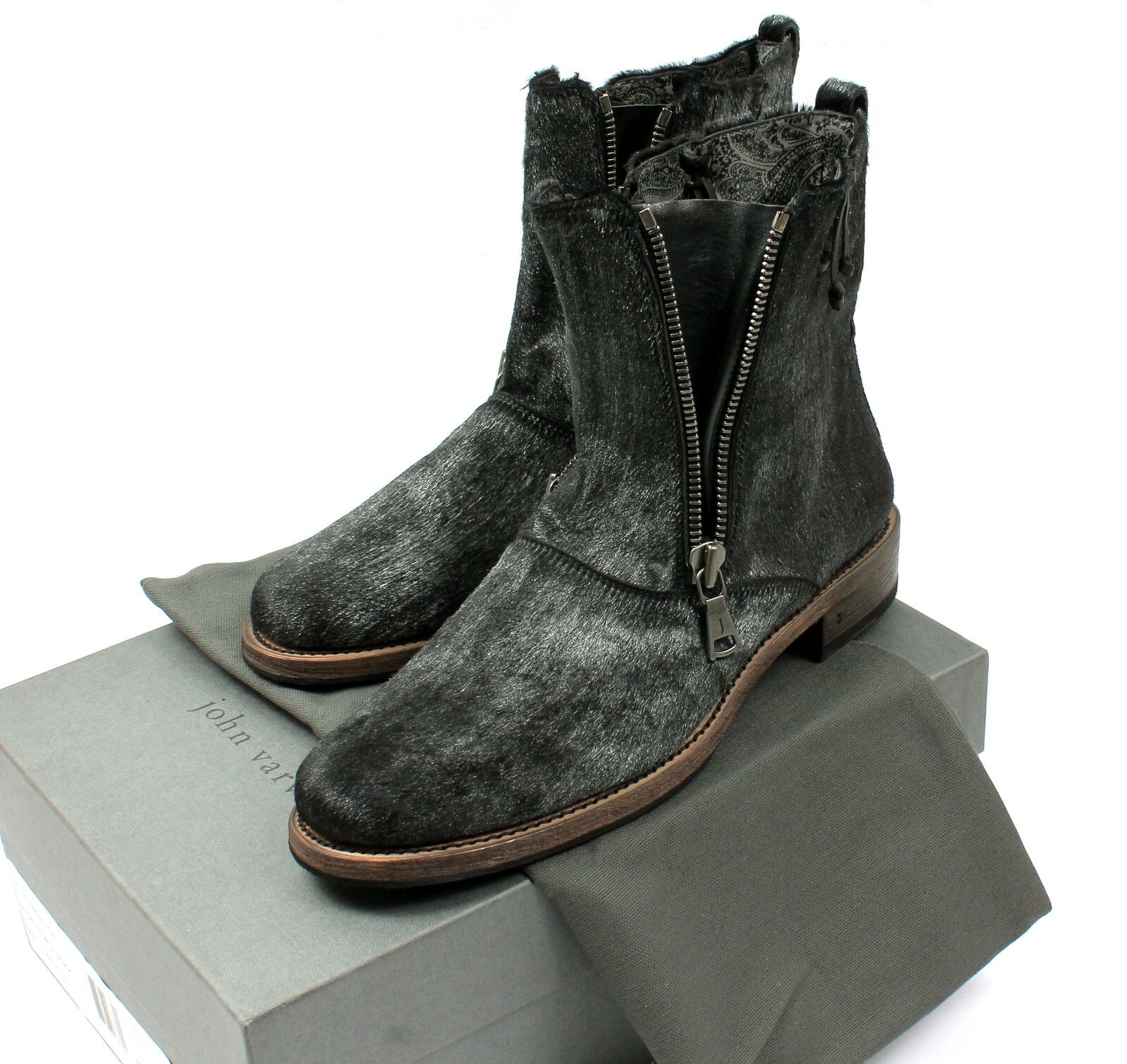 JOHN VARVATOS HANDMADE Double Zip PONY HAIR Leather Stiefel schuhe UK8 EU42 US9 NEW    | Komfort