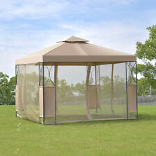 item 2 2-Tier 10u0027x10u0027 Gazebo Canopy Tent Shelter Awning Steel Patio Garden Brown Cover -2-Tier 10u0027x10u0027 Gazebo Canopy Tent Shelter Awning Steel Patio Garden ... & Wall Mounted Door Canopy Porch Patio Awning Yard Tent Steel Frame ...