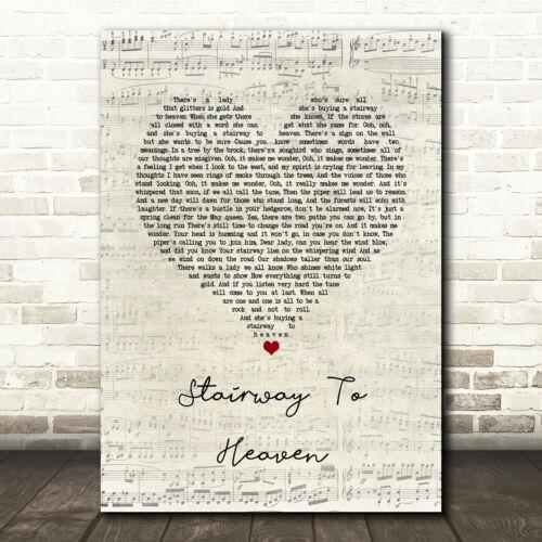 Stairway To Heaven Script Heart Song Lyric Print