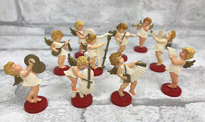 Set Of 10 Charming Vintage Red Plastic Angels Band Instruments Made in Germany