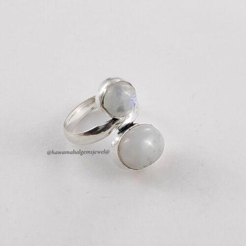 925 Silver Natural Moonstone Ring Sterling Handmade Rings Cabochon Gemstone
