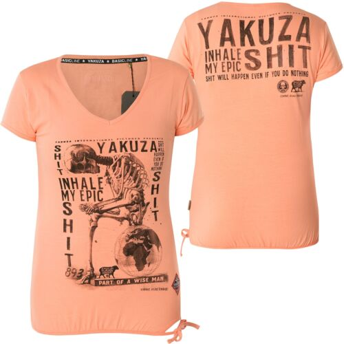 Yakuza Donna inhale Cord V-Neck Shirt gsb-13134 Papaya Arancione Punch