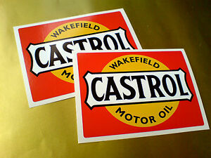 CASTROL-WAKEFIELD-Motor-Oil-Classic-Vintage-Car-Stickers-Decals-105mm-2-off