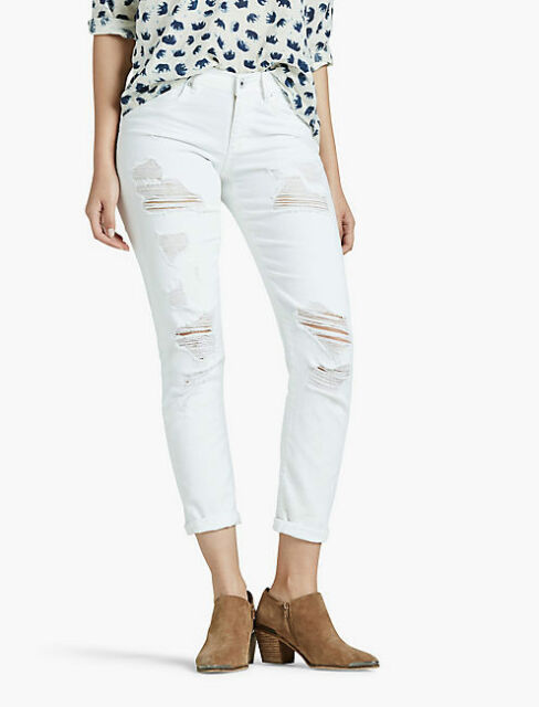 unconditional Punctuality Without  NWT Lucky Brand Sienna Slim Boyfriend Destroyed Jeans Size 6/28 White  Distressed for sale online