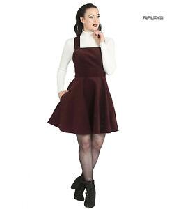 Hell-Bunny-Rockabilly-Corduroy-Mini-Dress-WONDER-YEARS-Pinafore-Wine-All-Sizes
