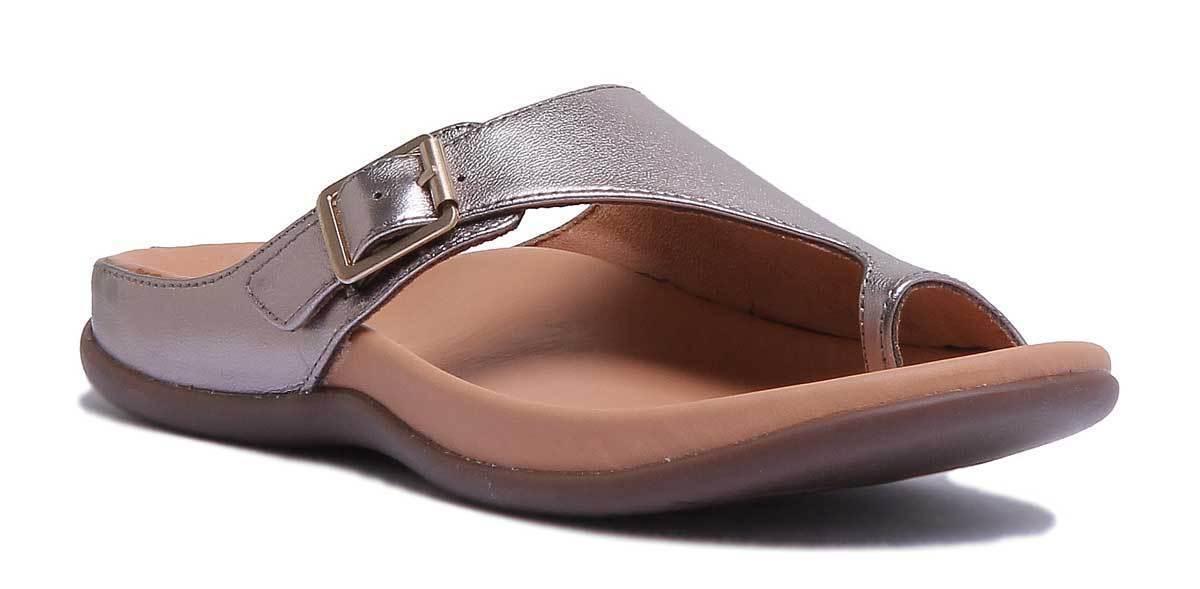 Strive Java Women Leather     Pewter Metallic Toe Loop Mule Sandals Size UK 3 - 8 9e0468