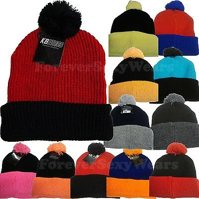 Unisex Men Women PomPom BEANIE 2-TONE CUFFED KNIT WINTER HATS CAP BLACK RED GREY