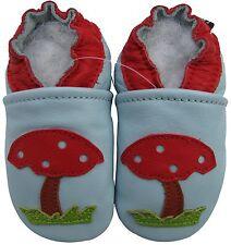 carozoo soft sole leather baby shoes mushroom light blue 0-6m