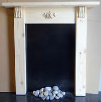 """SOLID PINE SMALL FIRE SURROUND """"SHABBY SHIC""""  CORBELS AND CENTRE CARVING"""