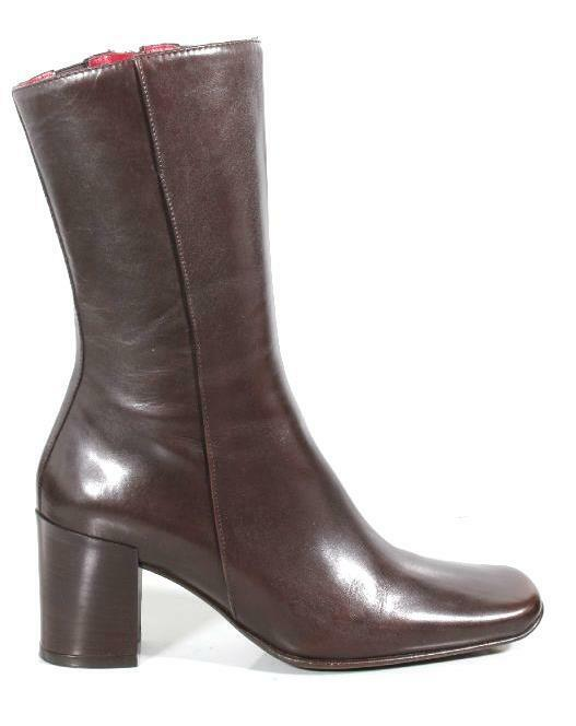 new DONALD J PLINER 'Franci' dark brown calf leather mid calf BOOTS shoes Italy
