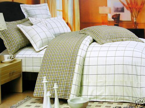 Kids Cotton Twin Size Bedding Set Sage Plaid Ivory Tan Brown