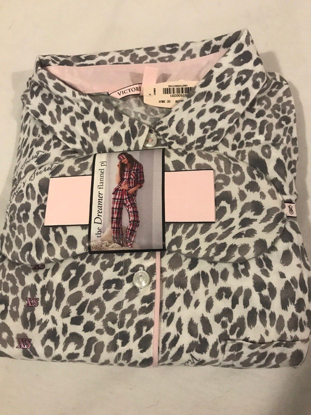 NWT Victoria's Secret Dreamer Leopard Flannel PJ Shirt Pants XS