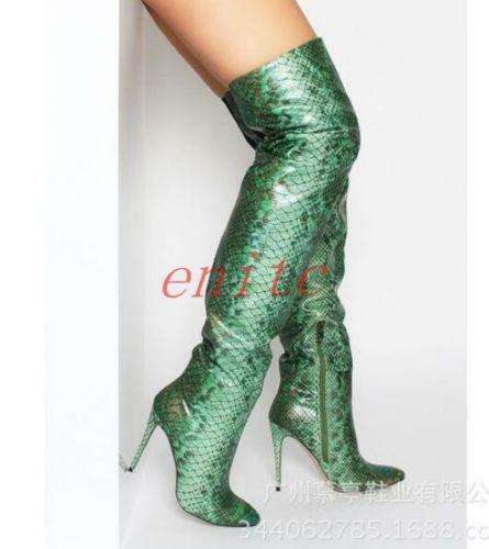 Mujeres Tacón Alto botas Sobre Sobre Sobre la rodilla alto del muslo para Mujer Piel De Serpiente partten Tamaño Grande c1 b419bc