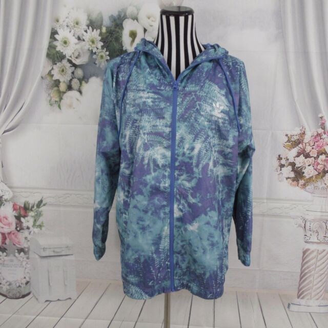 83b84d95467 ADIDAS Originals Blue Purple Windbreaker Floral Print Graphic Jacket Size M