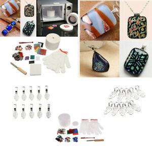 12Pcs-Pro-Stained-Glass-Fusing-Supplies-Microwave-Kiln-Kit-DIY-Jewelry-Tool