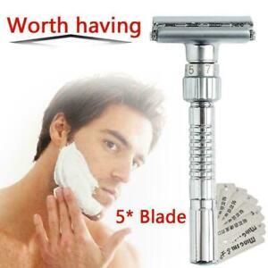 Mens-Adjustable-Razors-Double-Edge-Shaving-Safety-Razor-Shaver-5X-Blades-R6B9