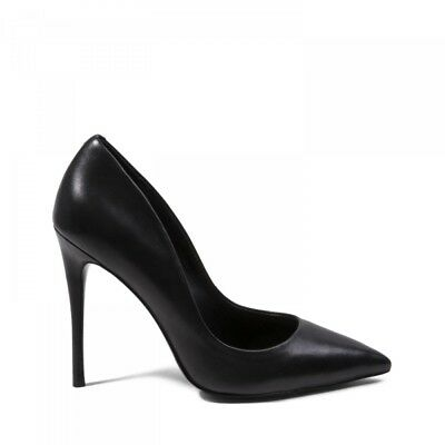 Steve Madden DAISIE Ladies Womens Smooth Leather Stiletto Heel Court Shoes Black