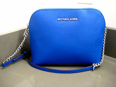 MICHAEL MICHAEL KORS CINDY DOME ELECTRIC BLUE LEATHER CROSSBODY  BAG