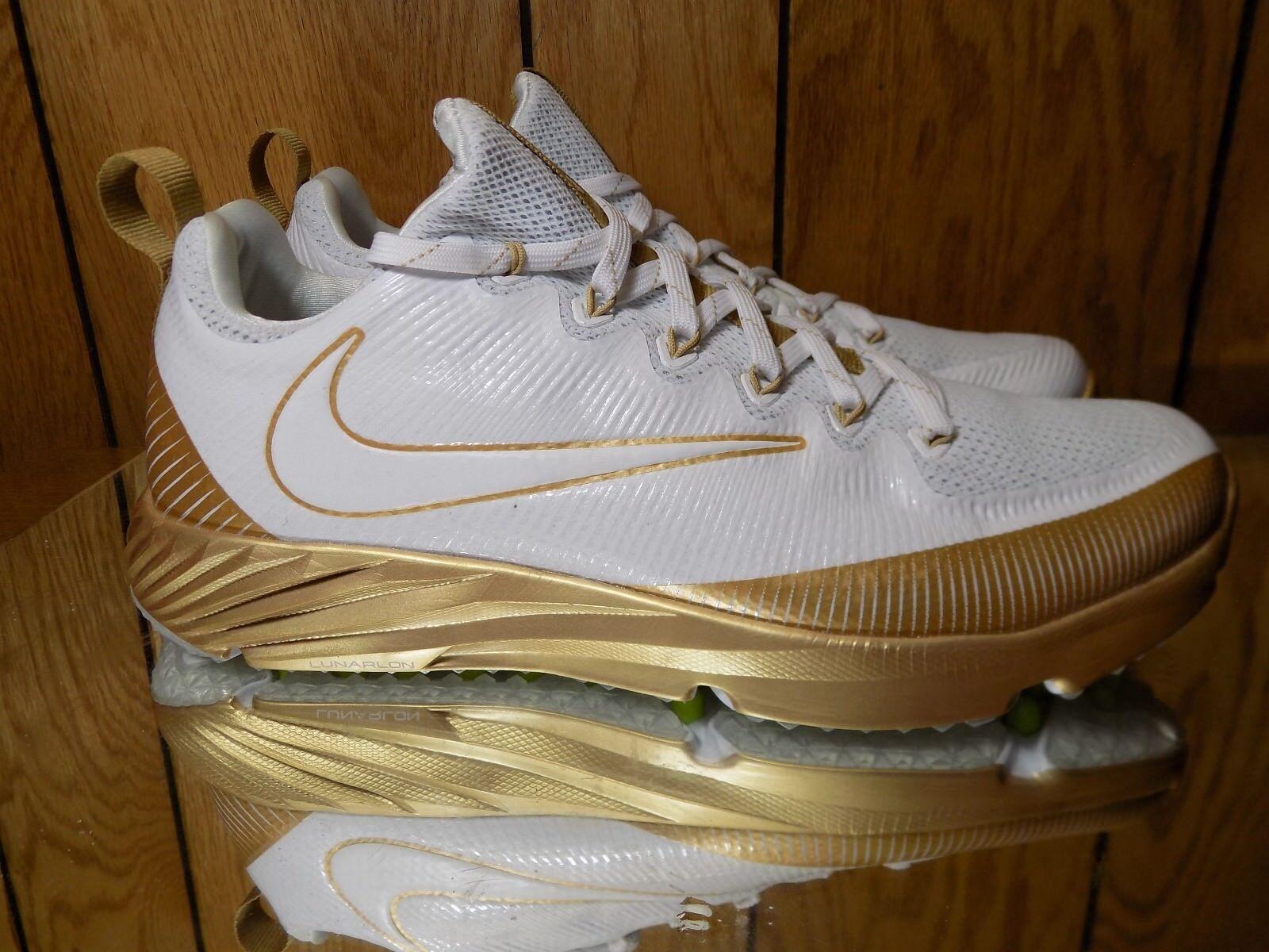Nike Vapor Speed Turf Turf Turf LAX Football Trainer shoes gold White Size 9 833408-711 4ba396