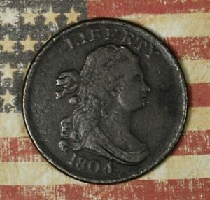 1804 US DRAPED BUST HALF CENT NICE RARE EARLY COPPER COLLECTOR COIN FREE SHIP